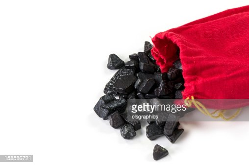 Bag of coal isolated on white : Stock Photo
