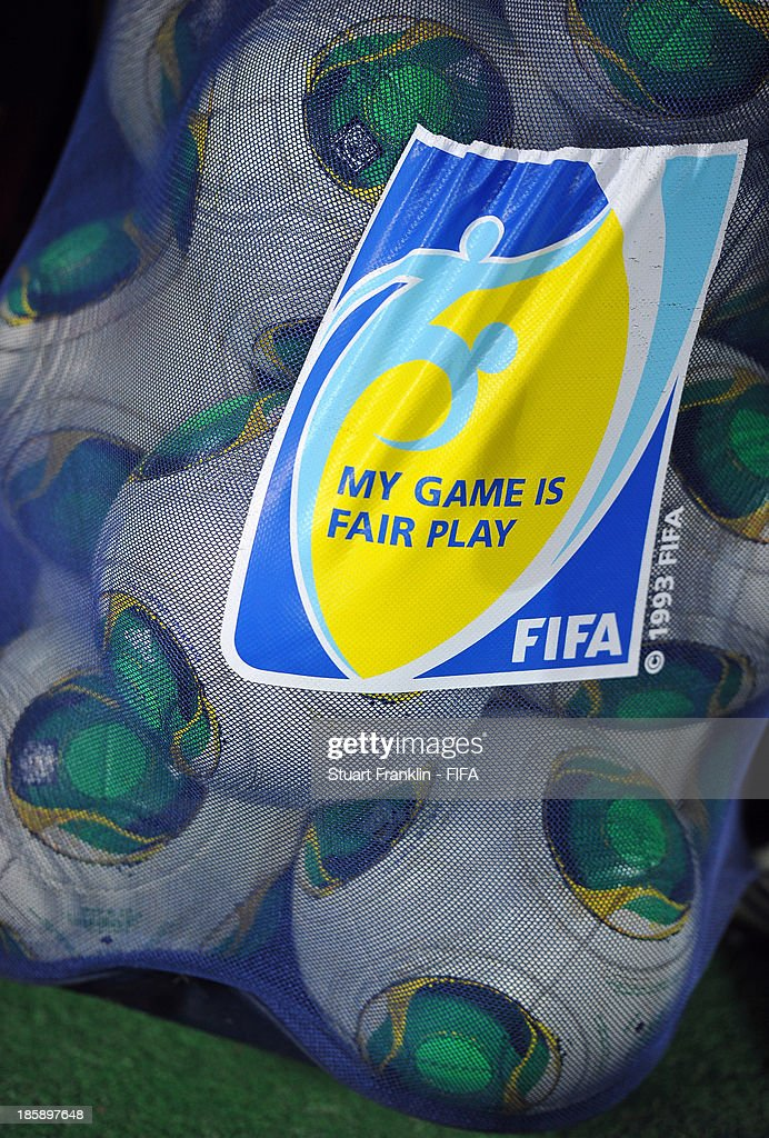 A bag of footballs at the FIFA U 17 World Cup group F match between Sweden and Mexico at Khalifa Bin Zayed Stadium on October 25, 2013 in Al Ain, United Arab Emirates.