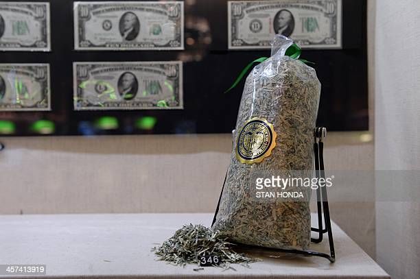 A bag of shredded US currency on display in the exhibition 'The Fed at 100' at the Museum of American Finance December 17 2013 in New York These USD...