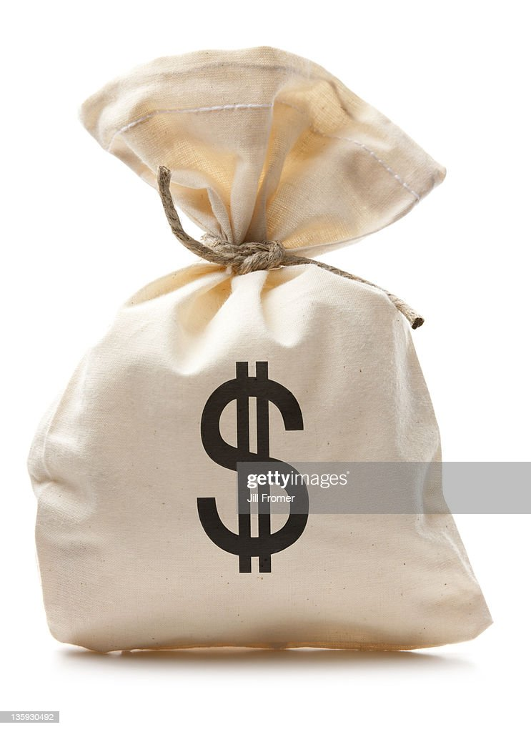 Bag of U.S. Cash Money : Stock Photo