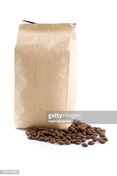 bag with coffee beans isolated on white