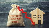 Bag with the money and the word Mortgage interest rates and arrow to down and house. Low interest in mortgages. Reducing interest payments for mortgages. The fall in housing rates on credit. Low housi