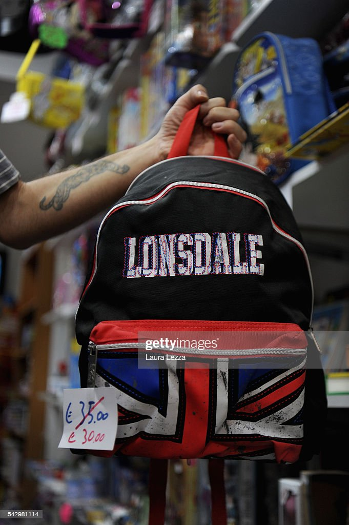 A bag with the Uk flag is displayed the day after the Brexit referendum on June 25, 2016 in the town of Nola near Naples, Italy. The results from the historic EU referendum has been declared and the United Kingdom has voted to leave the European Union.