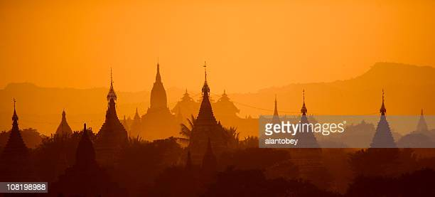 Bagan, Myanmar: Temples in Evening Light, Airborne Dust and Haze