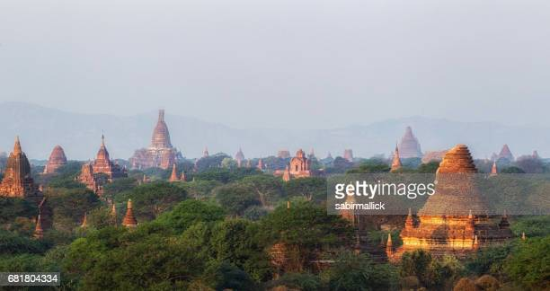 Bagan the land of thousand Pagoda in the morning sunrise