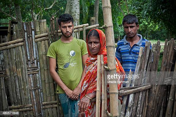 Bagdakia Indian enclave residents Rabiul Islam Ul Khatum and Rahul Amin stand for a photo July 10 2015 in Lalmonirhat District Bangladesh Their...