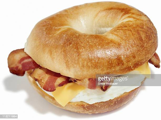 Bagel breakfast sandwich of eggs, cheese and bacon