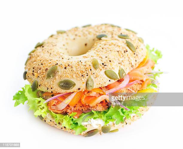Bagel sandwich with lox and lettuce