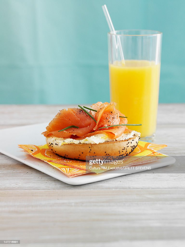 Bagel with lox and cream cheese : Stock Photo