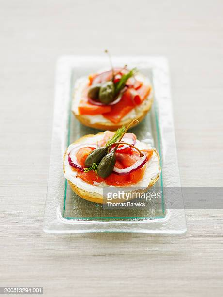 Bagel with smoked salmon, cream cheese, capers, red onion and dill