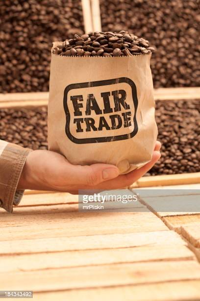 Bagful of FAIR TRADE coffee beans