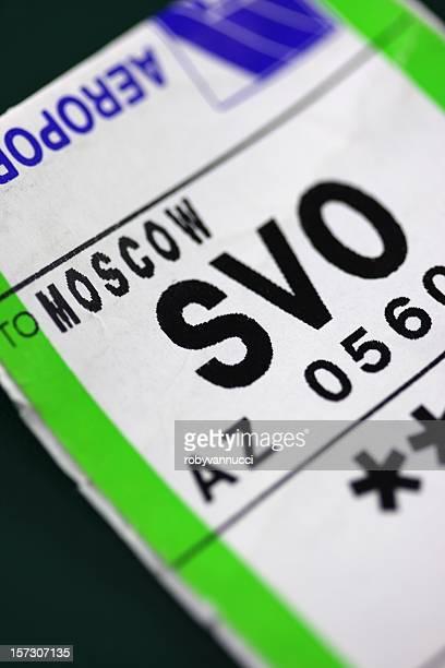 Étiquette de bagage pour un vol à Moscou