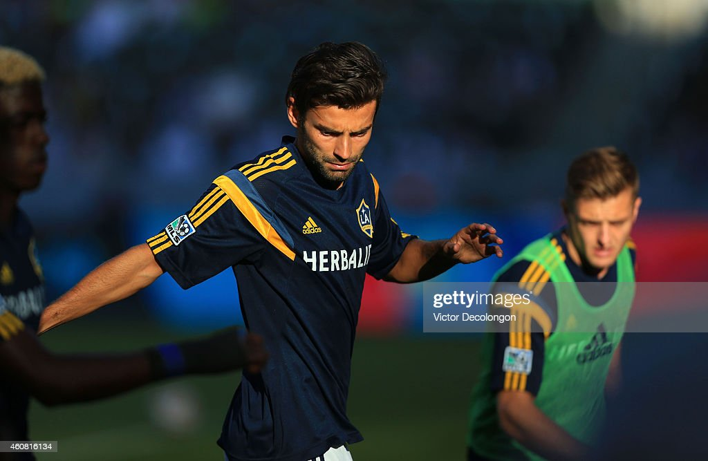 Baggio Husidic #6 of Los Angeles Galaxy warms up prior to the MLS match against Seattle Sounders FC at StubHub Center on October 19, 2014 in Los Angeles, California. This is Donovan's last regular season MLS game before retiring at the end of the season. The Sounders and Galaxy played to a 2-2 draw.