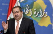 Iraq's Foreign Affairs Minister Hoshyar Zebari gestures as he speaks during a press conference in Baghdad 09 July 2007 Zebari warned today that...