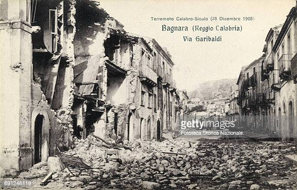 view of Garibaldi street invaded by rubble stone walls collapsed Some buildings destroyed by the terrible earthquake of magnitude 72 which counted...