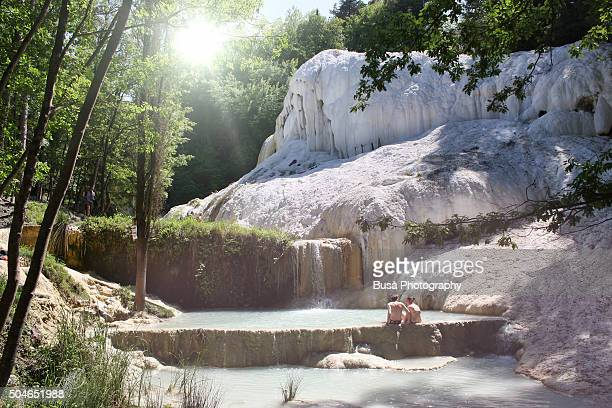 Bagni San Filippo, natural hot springs creating fascinating calcium deposits in the middle of the woods in Val d'Orcia, Tuscany, Italy