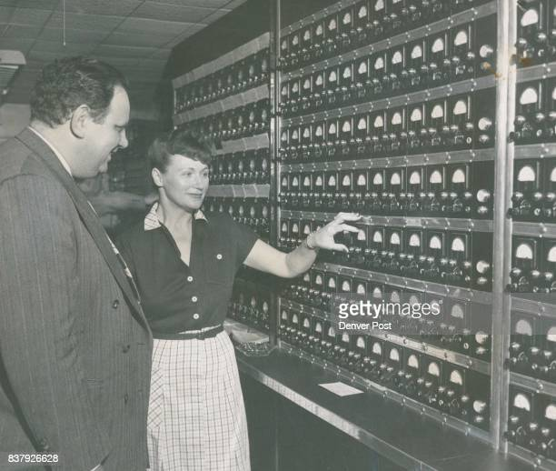 Bagno and Mrs Jackson examine the main switchboard in the office of the Denver Burglar Alarm company 422 Twentyfirst street All alarms are to be...