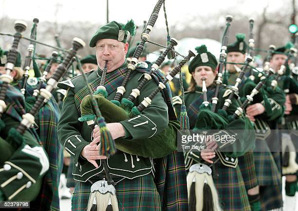 Bagpipe members of the Shannon Rovers Pipe Band are seen in the St Patrick's Day parade March 12 2005 in Chicago Illinois Chicago is celebrating St...