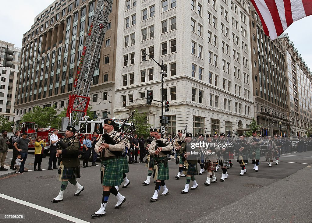 Bagpipers from various law enforcement agencies participate in the 22nd annual 'Blue Mass' at St. Patrick's Catholic Church May 3, 2016 in Washington, DC. The mass is held by the National Law Enforcement Officers Memorial Fund to recognize the first responders who have given their lives in the past year.