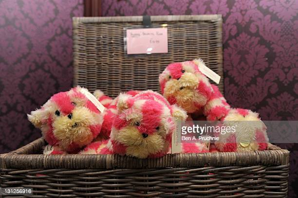 Bagpuss soft toys are displayed for sale at the new Bagpuss Popup Shop at Whitelys Shopping Centre on November 3 2011 in London England