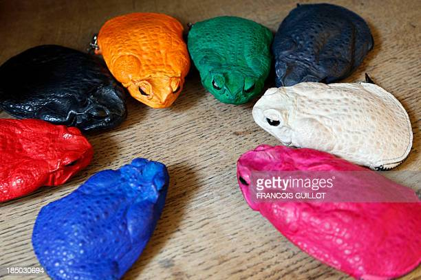 Bags and purses made with Australian cane toads by Polish fashion designer Monika Jarosz are pictured in Paris on October 9 2013 AFP PHOTO / FRANCOIS...