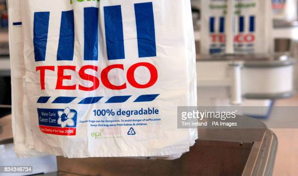 Bags inside the Tesco store on Old Kent Road London as the grocery chain announced an 118% hike in annual profits today