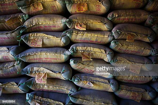 Bags of Binani cement sit in a shop in Gurgaon India on Wednesday Oct 3 2007 ACC Ltd India's biggest cementmaker by capacity said September sales...