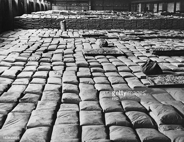 Bags of cement are stockpiled in West Berlin in anticipation of the possibility of another Berlin Blockade by the Soviet Union during the Berlin...