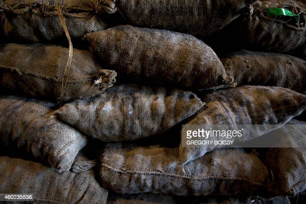 LEYRAL Bags of copra the flesh of the coconut are stored at the oil mill of Papeete on December 9 2014 10000 tons of copra are delivered annually to...