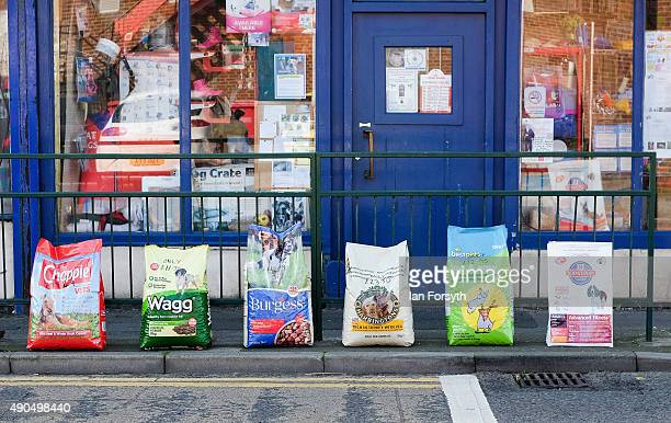 Bags of dog food are displayed on the side of the road outside a pet shop on September 29 2015 in Redcar England Following the announcement by SSI UK...