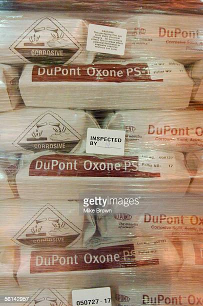 Bags of DuPont's Oxone await distribution November 11 2005 in Memphis Tennessee Oxone is the active ingredient in Virkon S which is being used to...