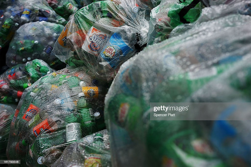 Bags of empty plastic bottles wait to be recycled at Sure We Can a nonprofit bottle redemption center in Bushwick Brooklyn that is pushing to become...