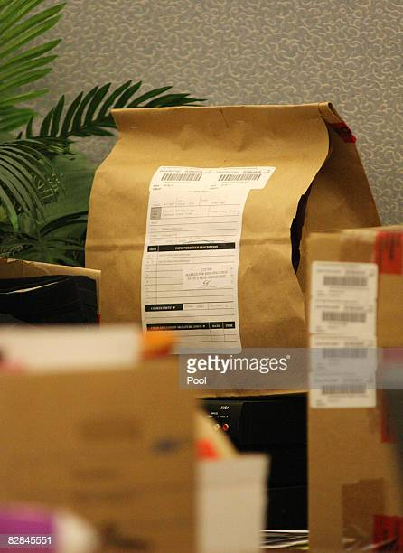 Bags of evidence are displayed during OJ Simpson's trial at the Clark County Regional Justice Center on September 16 2008 in Las Vegas Nevada Simpson...