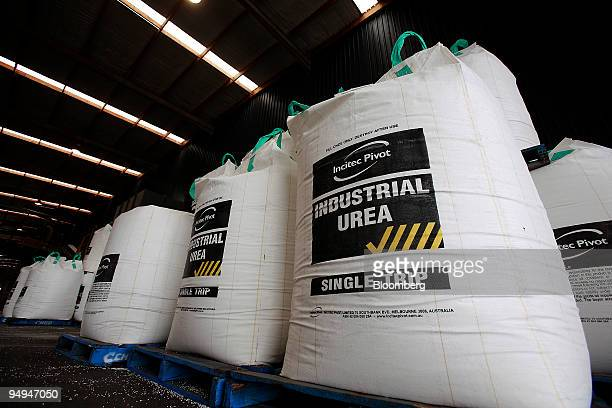 Bags of fertilizer are stacked at an Incitec Pivot Ltd distribution facility in Geelong outside Melbourne Australia on Thursday May 14 2009 Incitec...