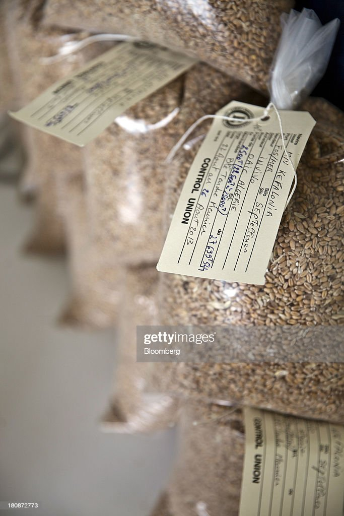 Bags of grain from varoius countries are seen labelled and stacked inside the buildings at Tellines Port, operated by the Marseille-Fos Port Authority in Port Saint Louis du Rhone, France, on Monday, Sept. 16, 2013. European Union average corn yields will be lower than expected last month after hot and dry weather in Italy during flowering in August hurt the grain, according to the bloc's crop-monitoring unit. Photographer: Balint Porneczi/Bloomberg via Getty Images