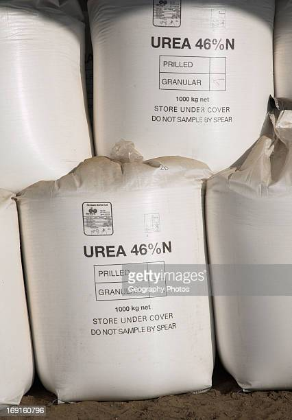 Bags of granulated urea fertilizer in a barn Sutton Suffolk England