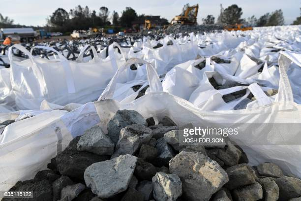 Bags of rocks are seen in preparation for use in emergency measures at the Oroville Dam in Oroville California on February 13 2017 Almost 200000...