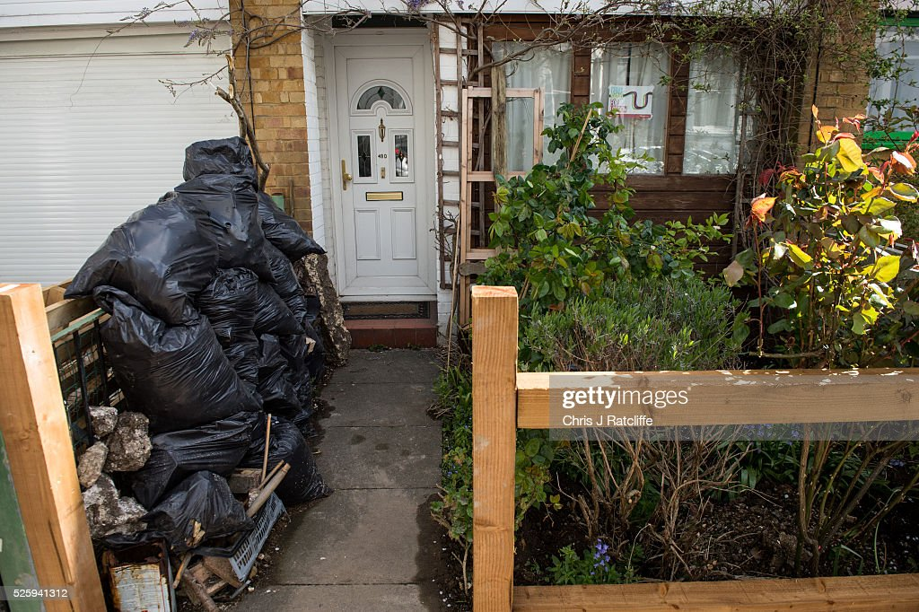 Bags of rubbish are left outside the front door of Labour party leader Jeremy Corbyn's home in the morning on April 29, 2016 in London, England. Mr Corbyn has denied that his party is in crisis after Ken Livingstone was suspended from the party for comments made defending an MP accused of anti-semitism.