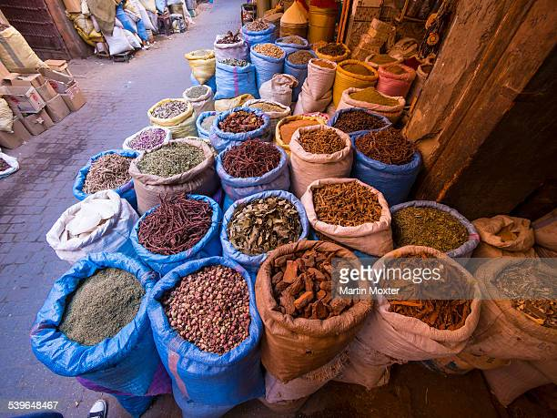Bags of spices in the historic Medina, Souk, market, Marrakech, Marrakech-Tensift-Al Haouz, Morocco