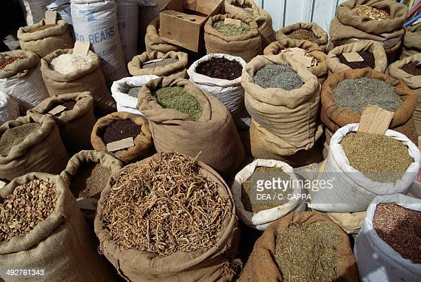Bags of spices on display at the market El Oued Souf Algeria