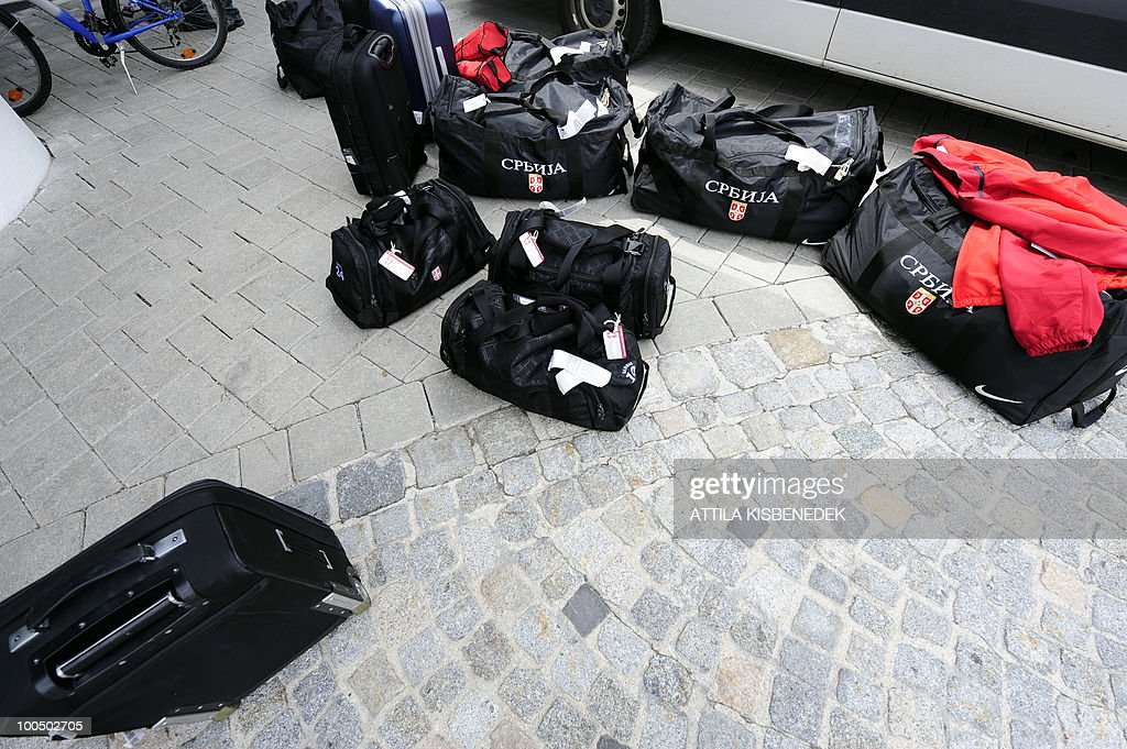 Bags of the Serbian players are pictured on the pavement as the Serbian national soccer team arrives at the Hotel Krallerhof in Leogang, Austria on May 25, 2010 where the Serbian team is staying while holding a training camp to prepare for the 2010 World Cup in South Africa.