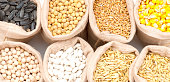 bags with cereal grains (oat, barley, wheat, corn, beans, peas, soy, sunflower)