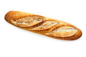 Baguette bread stick, isolated on white with soft shadow.