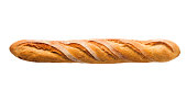"""""""Subject: A baguette, a French crusty bread, isolated on a white background"""""""