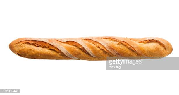 Baguette Loaf of French Bread, Baked Food Isolated on White