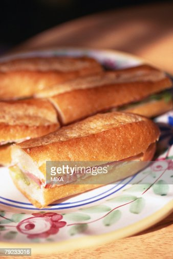 Baguette Sandwiches : Stock Photo