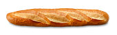 """""""A baguette, a French crusty bread, isolated on a white background/clipping path"""""""