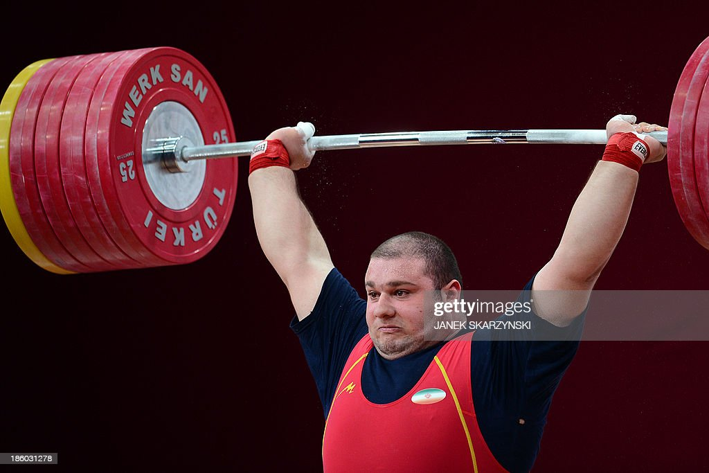 Bahador Moulaei of Iran competes in the men's +105 kg weightlifting IWF World Championships at Centennial Hall in Wroclaw, Poland on October 27, 2013. Bahador Moulaei won the silver medal in the competition. AFP PHOTO/JANEK SKARZYNSKI