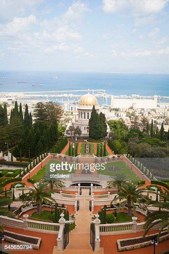 Bahai Temple and view of Haifa, Israel