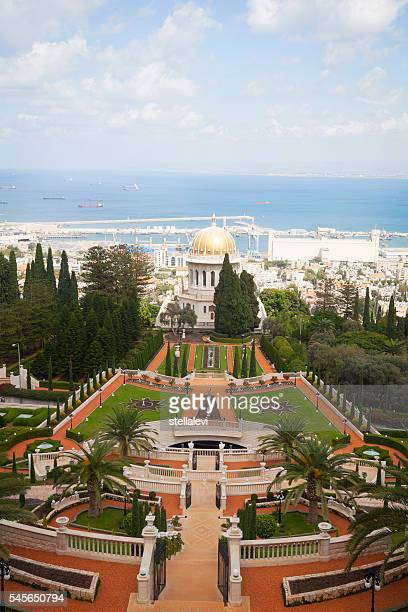 Bahai Temple and view of Haifa, Israel
